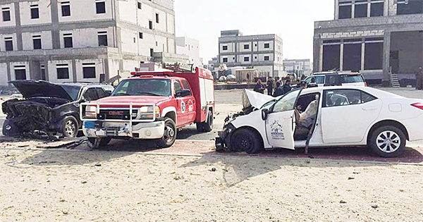 A fire department car at the site of accident