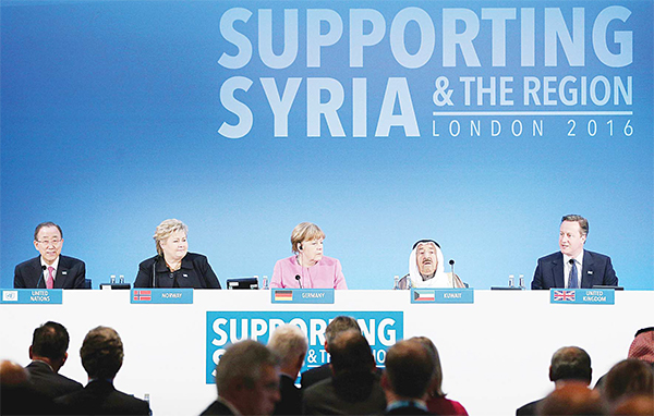Left to right: UN Secretary-General Ban Ki-moon, Norweigan Prime Minister Erna Solberg, German Chancellor Angela Merkel, HH the Amir of Kuwait Sheikh Sabah Al- Ahmad Al-Sabah, and British Prime Minister David Cameron attend the 'Supporting Syria & The Region' donor conference at the QEII centre in central London