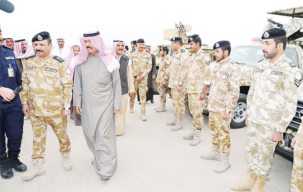 His Highness the Crown Prince Sheikh Nawaf Al-Ahmad Al-Jaber Al-Sabah taking a tour of the northern borders.
