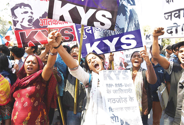 Indian students and activists shout slogans during a protest in New Delhi on Feb 23. (AFP)