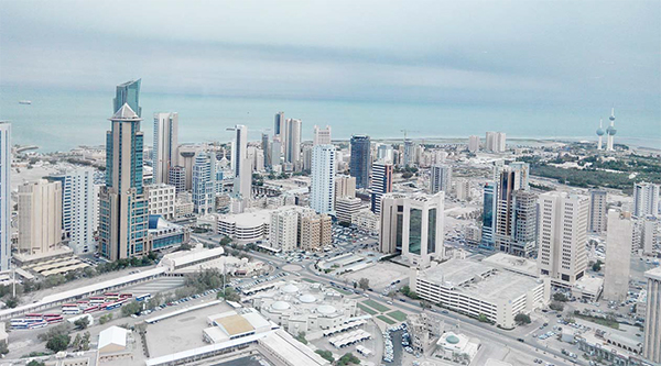 An aerial view of Kuwait taken in the morning recently