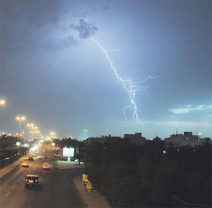 Lightning strikes across Kuwait skies Saturday evening as the country experienced heavy downpour