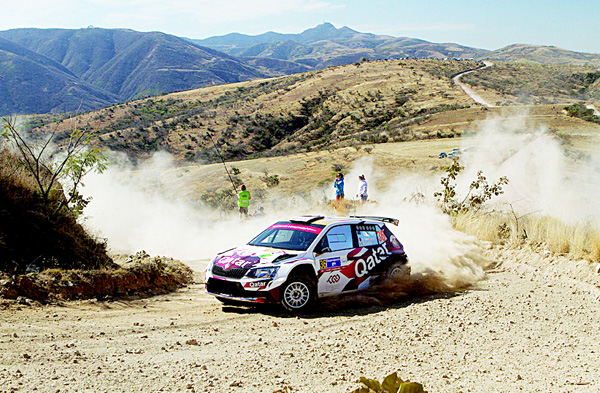 Abdulaziz Al Kuwari in action at the recent Rally Mexico with his Skoda Fabia R5.