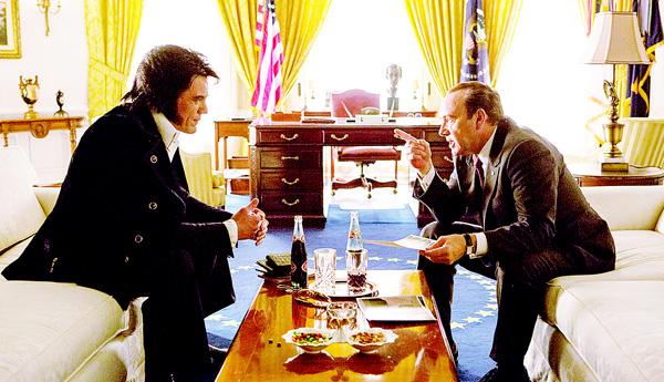 This image released by Bleecker Street shows Michael Shannon as Elvis (left), and Kevin Spacey as Richard Nixon in a scene from 'Elvis & Nixon.' The comedy about the 1970 meeting between the King of Rock 'n' Roll and the president, will debut at the Tribeca Film Festival. The 15th annual Tribeca Film Festival runs April 13-24. (AP)