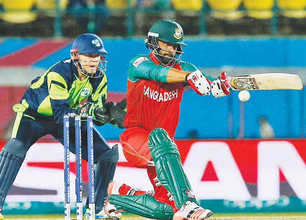 Bangladesh's Soumya Sarkar plays a shot during their match against Ireland at the ICC World Twenty20 2016 cricket tournament at the Himachal Pradesh Cricket Association (HPCA) Stadium in Dharmsala, India, March 11. (AP)