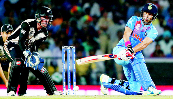 India's Yuvraj Singh bats against New Zealand during the ICC World Twenty20 cricket match at the Vidarbha Cricket Association Stadium in Nagpur, India, on March 15. (AP)