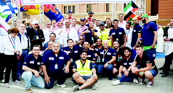 Kuwait International Rally organisers at the finish of the event.