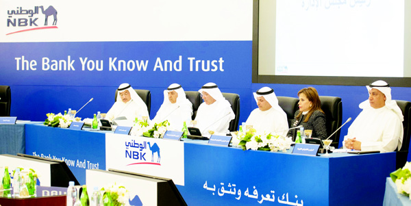 Nasser Al Sayer, NBK's Chairman, Isam Al Sager, NBK's Group Chief Executive Officer, Shaikha Al Bahar, NBK Deputy Group Chief Executive Officer and Salah Al Fulaij, NBK-Kuwait Chief Executive Officer during the General Assembly Meeting.