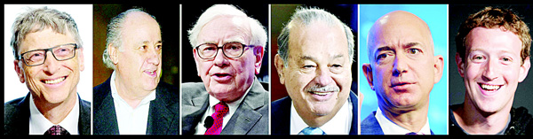 This combination of file images shows (left-right), in order of wealth: Microsoft founder Bill Gates, Spanish clothing retailer Amancio Ortega, business investor Warren Buffett, Mexican telecom magnate Carlos Slim, Amazon CEO and founder Jeff Bezos and Facebook CEO Mark Zuckberg. The billionaires are the top six on Forbes Magazine's new list of the planet's richest people announced March 1