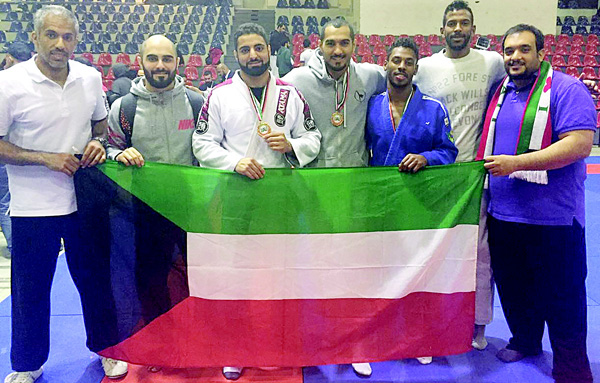 Kuwait Jiu-Jitsu national team pose for a group photo after winning 3 medals at the second West Asia Jiu-Jitsu Under-21 Championship.