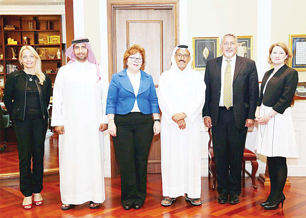 Group photo from the meeting shows Khalaf Ahmad Al Habtoor with HE Barbara A. Leaf and HE Paul R. Malik