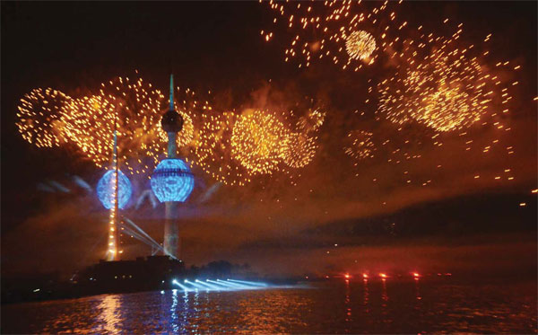 Fireworks festival held near Kuwait Towers was held Saturday to mark the 55th National Day of Kuwait, 25th Anniversary of Liberation and the 10th Anniversary of HH the Amir's ascension to power.