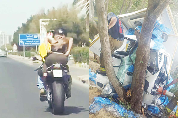 The semi-nude girl on bike  & The smashed up vehicle