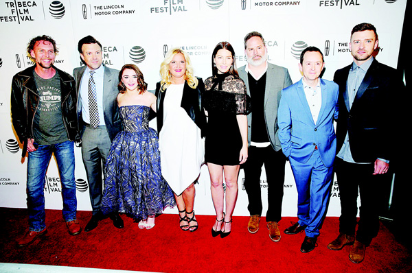 Left to right: Jayson Warner Smith, Jason Sudeikis, Maisie Williams, Michelle Purple, Jessica Biel, director Bill Purple, Richard Robichaux and Justin Timberlake attend the 'The Devil And The Deep Blue Sea' premiere during the 2016 Tribeca Film Festival at the John Zuccotti Theater at BMCC Tribeca Performing Arts Center on April 14, in New York City. (AFP)