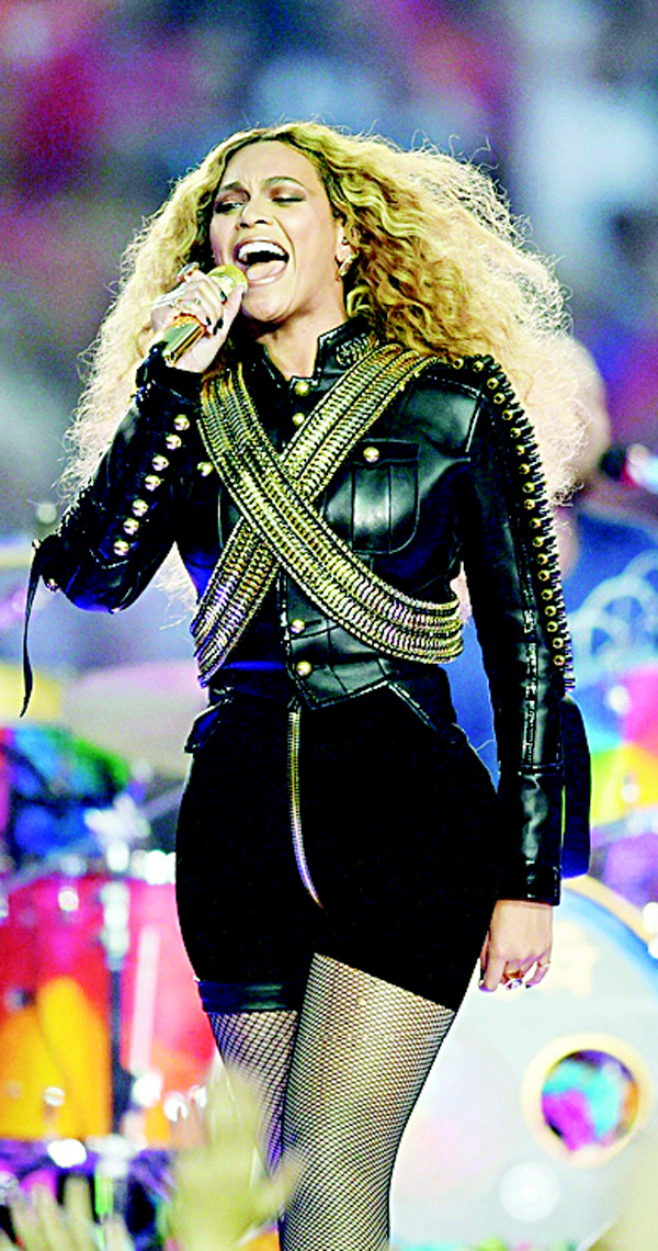 This file photo taken on Feb 7, 2016 shows Beyonce performing during Super Bowl 50 between the Carolina Panthers and the Denver Broncos at Levi's Stadium in Santa Clara, California. (AFP)