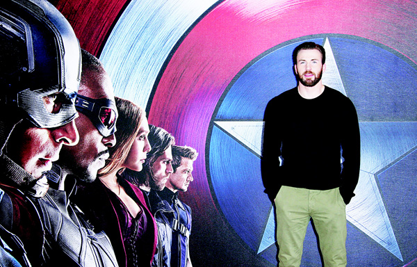 Chris Evans poses for photographers at the photo-call of the film 'Captain America: Civil War' in London, on April 25. 'Captain America: Civil War' is opening in US on May 6. (AP)