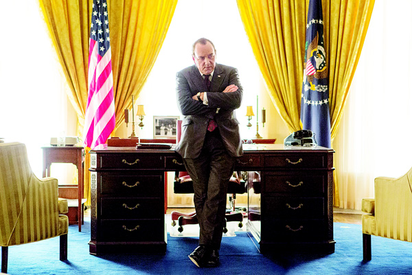 In this image released by Bleecker Stress, Kevin Spacey portrays President Richard Nixon in a scene from 'Elvis & Nixon'. (AP)