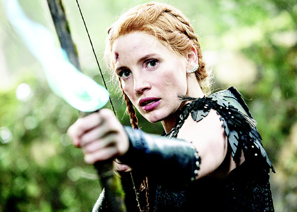 In this image released by Universal Pictures, Jessica Chastain appears in a scene from 'Huntsman: Winter's War.' (AP)