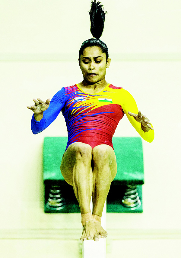 India's Dipa Karmakar performs at the balance beam during the artistic gymnastics test event for the Rio 2016 Olympic Games at the Rio Olympic Arena in the Olympic Park in Rio de Janeiro, Brazil on April 17. (AFP)