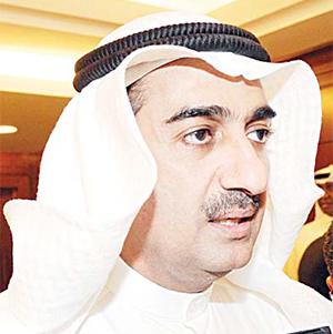 Kuwait's Minister of Commerce and Industry Dr Yousef Al-Ali speaks to the press.