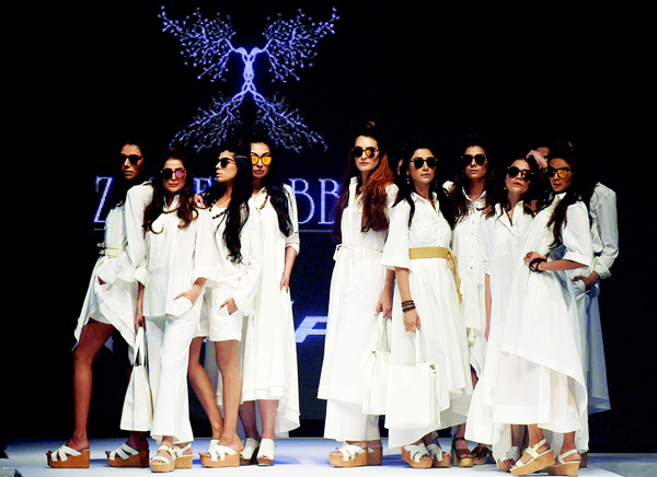 Models present creations by Pakistani designer Zaheer Abbas on the second day of the Pakistan Fashion Week in Karachi. (AFP)