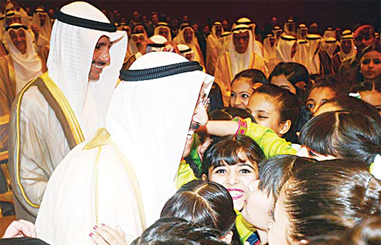 HH the Amir being greeted by some of the school children who took part in National Operetta