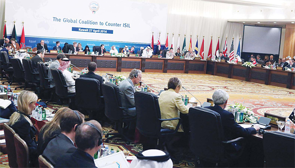 Representatives of the countries which are part of the small group of the global coalition to counter the Islamic State (IS) group take part in a meeting to discuss ways to further accelerate the campaign against jihadists on April 27, in Kuwait City. (AFP)