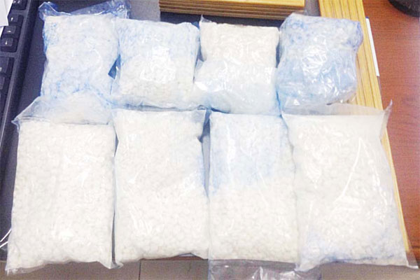 The narcotic pills seized from the Filipino trucker.
