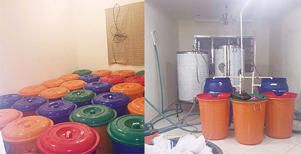 Six Nepali expatriates, including three women were arrested for manufacturing liquor in Eqaila area. left: The liquor distillation unit and barrels of home-made liquor ready for sale. MoI photos