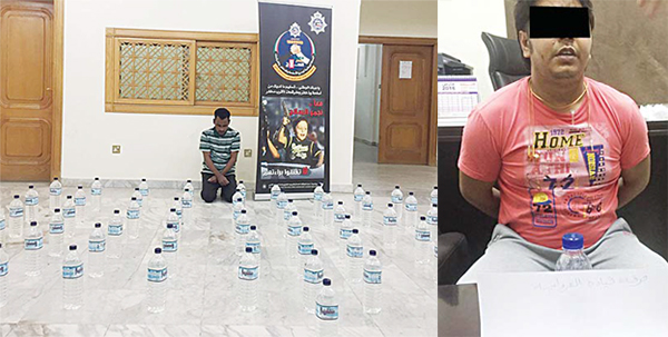 Left: The Asian arrested with 61 liquor bottles, and (right), the taxi driver with the seized contraband