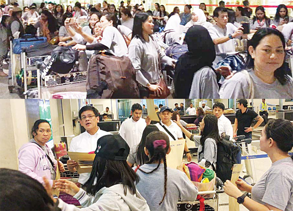(top) Queueing outside the airport (above) ATNU head Ramon Nerida (extreme left) with other embassy staff helps at the check-in counter.