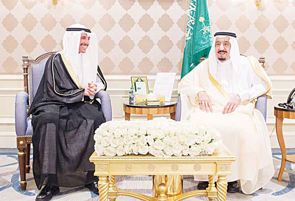 Saudi King Salman bin Abdulaziz Al Saud receives at his residence in Cairo Speaker of the Kuwaiti National Assembly Marzouq Al-Ghanim and his accompanying delegation.