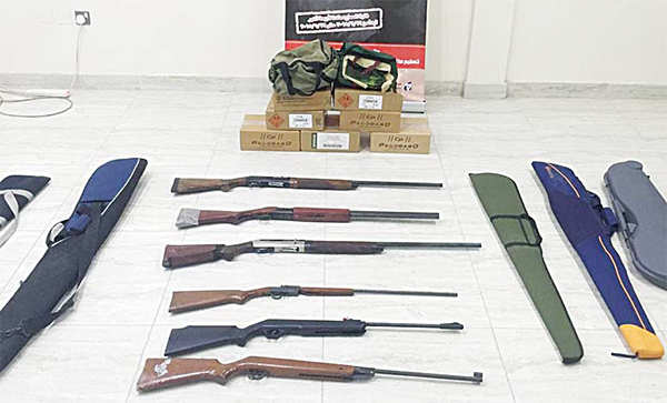 Some of the seized guns