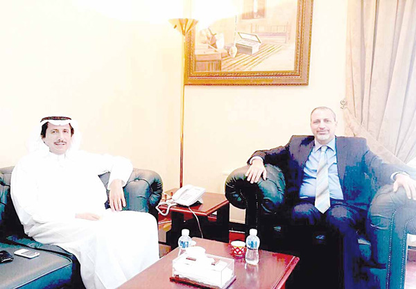 Director of the United Nations Information Centre for Arab Gulf countries Amin Al-Sharqawi meets with the dean of the diplomatic corps, Kuwaiti Ambassador to Bahrain Sheikh Azzam Al-Sabah.