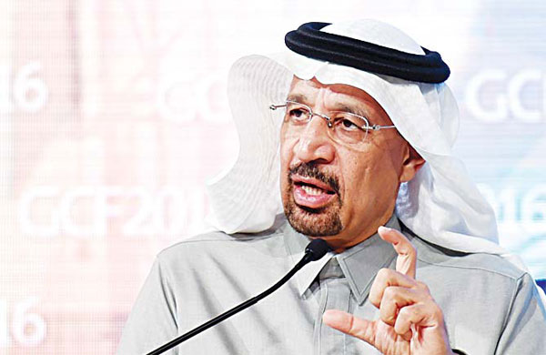 This file photo taken on Jan 25, 2016 shows Khaled al-Falih, the Chairman of Saudi state oil giant Aramco, addressing the 10th Global Competitiveness Forum on Jan 25, 2016, in the capital Riyadh. (AFP)