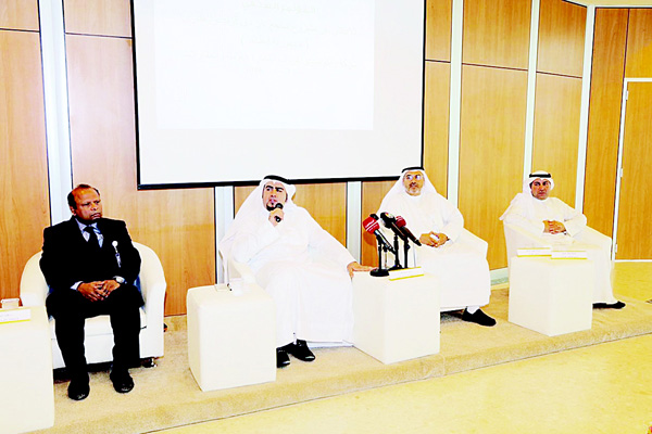 Rakomesko Group Chairman Khalil Al-Rashid with other company officials during the press conference.