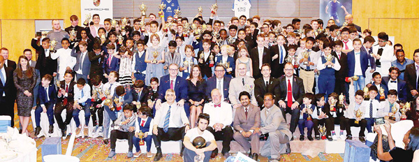 All the winners display their trophies after the awarding ceremony. The Premier Sports Academy held its Gala Presentation Evening Season at the Salwa Sabah Al-Ahmad Theatre and Hall, Marina Hotel.