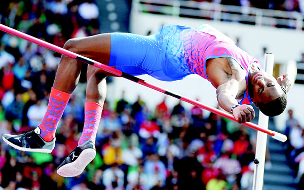 USA's Kynard Erik competes in the men's high jump event at the Morocco Diamond League athletics competition in Rabat on May 22. (AFP)