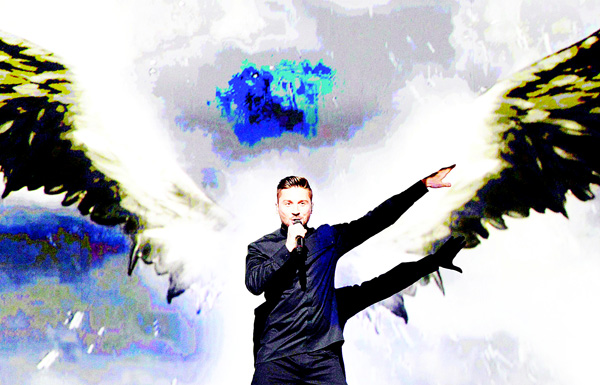 Sergey Lazarev representing Russia performs the song 'You Are The Only One' during the first semifinal of the Eurovision Song Contest 2016 in Stockholm, Sweden, on May 10. (AFP)