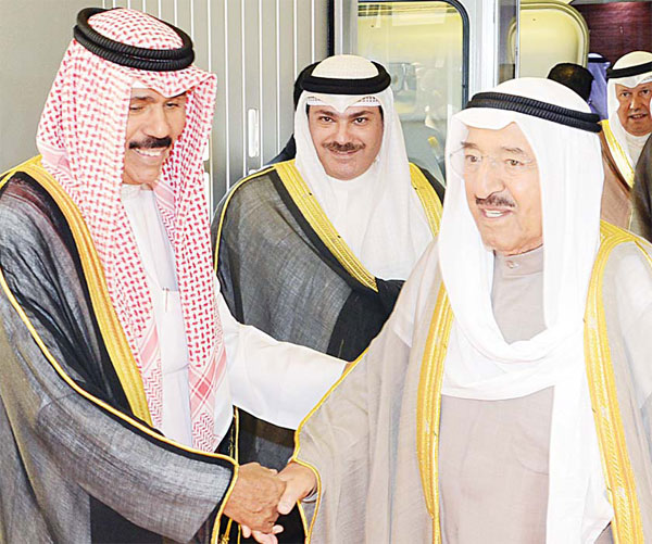 HH the Amir Sheikh Sabah Al-Ahmad Al-Sabah being received at the Kuwait International Airport.