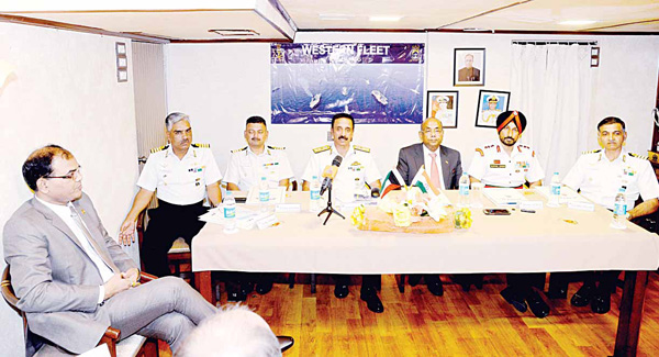 Seated from left to right: Dr Sushil Kumar, SS Political, Commerce; Commander Capt Pradeep Singh, NM, INS Tarkash; Commander of INS Deepak Capt Sujit Kumar Chhetri; Rear Admiral Ranveet Singh, NM; Ambassador Sunil Jain, Gurpal Singh, Defence Attache based in Riyadh, accredited to Kuwait and Commander of INS Delhi, Capt Sandeep Singh Sandhu.