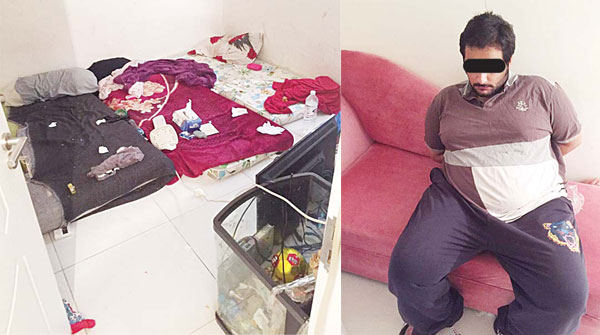 A Kuwaiti citizen and his wife 'tortured' their four-year-old daughter to death. Above left: The apartment belonging to the suspects and father of the child, (above right).