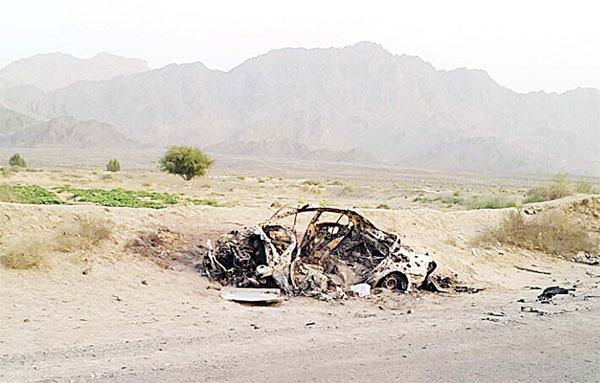 This photo taken by a freelance photographer Abdul Salam Khan using his smartphone on May 22, purports to show the destroyed vehicle in which Mullah Mohammad Akhtar Mansour