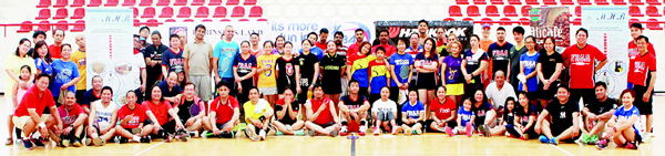 FBAA participants pose for a group photo during the 13th Hankook Tires Badminton Cup.