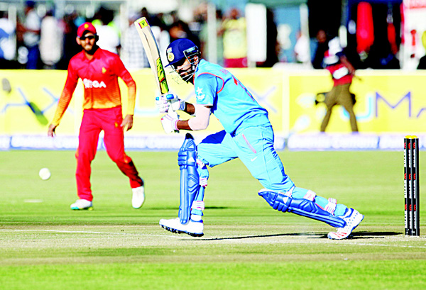 India batsman KL Rahul hits a ball during the first One-Day International (ODI) matches between India and host Zimbabwe at the Harare Sports Club in Harare on June 11. (AFP)