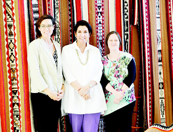 Sadu weaving is a highly prized element of Kuwait's material culture, admired for its rich colours, geometric motifs and ornamental symmetry. The Sadu House is gearing up to present 'Weaving Stories', an interactive exhibition to celebrate Kuwait being chosen the Islamic Cultural Capital of 2016, for the Arab Region. In this 'After Iftar' article, Lesli Robertson (left), Sheikha Altaf Al-Sabah (center), and Shelby Allaho (right), provide a glimpse into the world of Sadu weaving and reveal the focus of the upcoming exhibition.