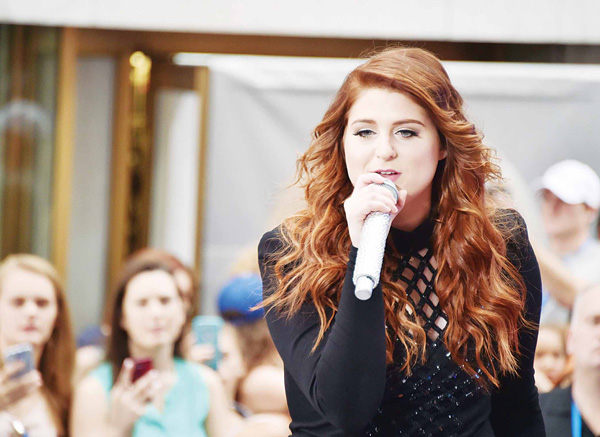 Singer/songwriter Meghan Trainor performs on NBC's 'Today' at Rockefeller Plaza on June 21, in New York City. (AFP)