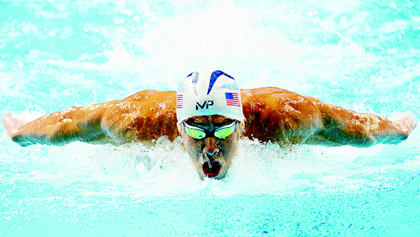 Michael Phelps of the United States competes in the final heat for the Men's 200 meter butterfly during Day Four of the 2016 US Olympic Team swimming trials at CenturyLink Center on June 29. (AFP)