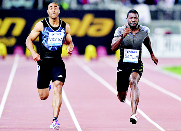 US Justin Gatlin (right) and France's Jimmy Vicaut compete in the Men's 100m event at the Rome's Diamond League competition on June 2, at the Olympic Stadium in Rome. (AFP)