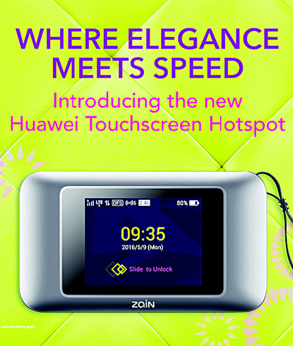 Zain launches Huawei Touchscreen Hotspot